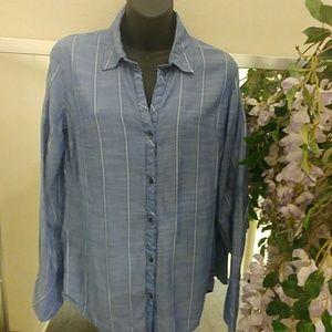 Jessica Simpson Button Down Chambray Stripe Shirt